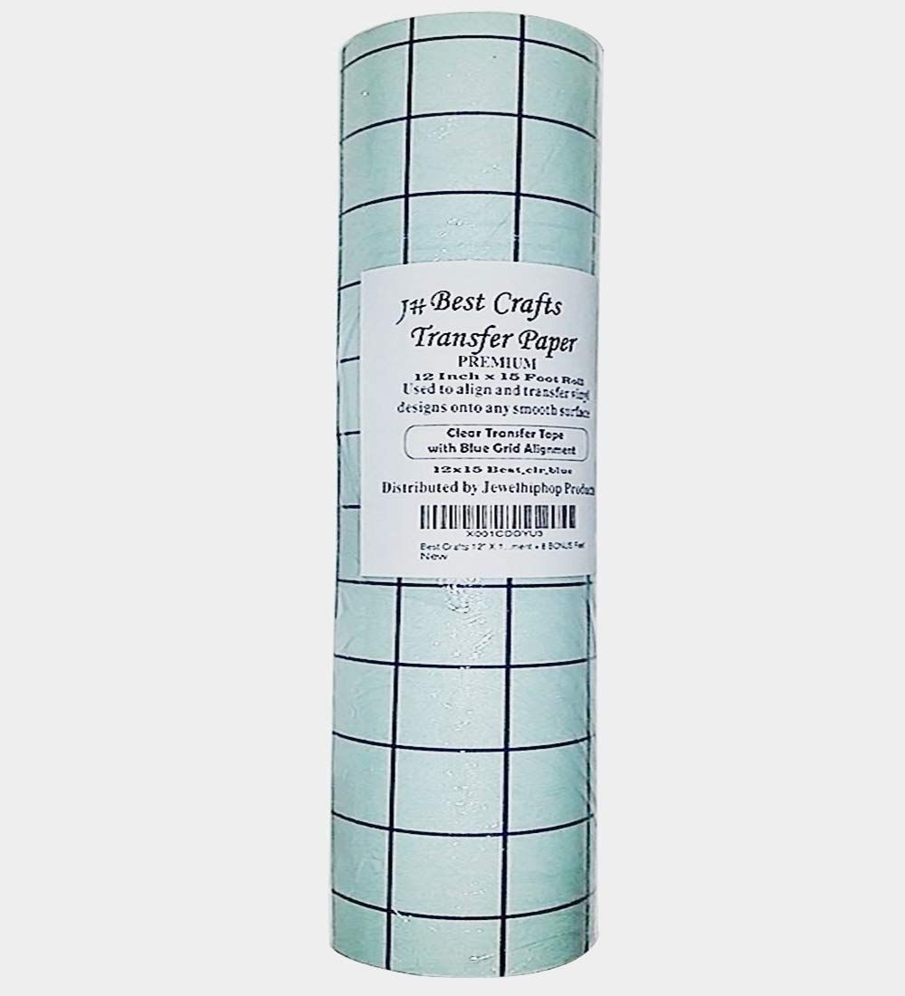 Jh Best Crafts Clear 12 Inches X 10 Foot Roll Transfer Paper W Grid Perfect Alignment Of Cameo Or Cricut Self Adhesive Vi Transfer Paper Adhesive Vinyl J Craft