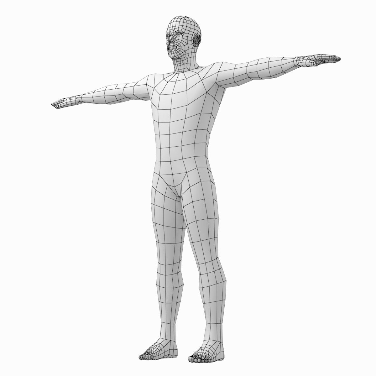 Male Low Poly Base Mesh In T Pose Male Body Poses Low Poly