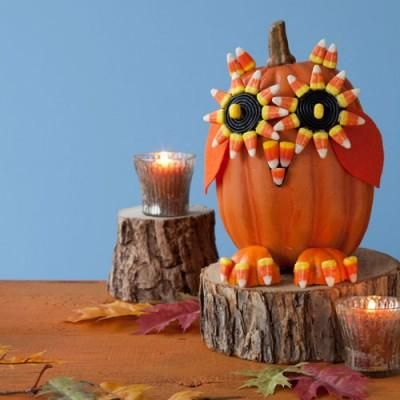 No-carve Halloween pumpkin crafts Use candy to make a clever owl pumpkin & No-carve Halloween pumpkin crafts: Use candy to make a clever owl ...