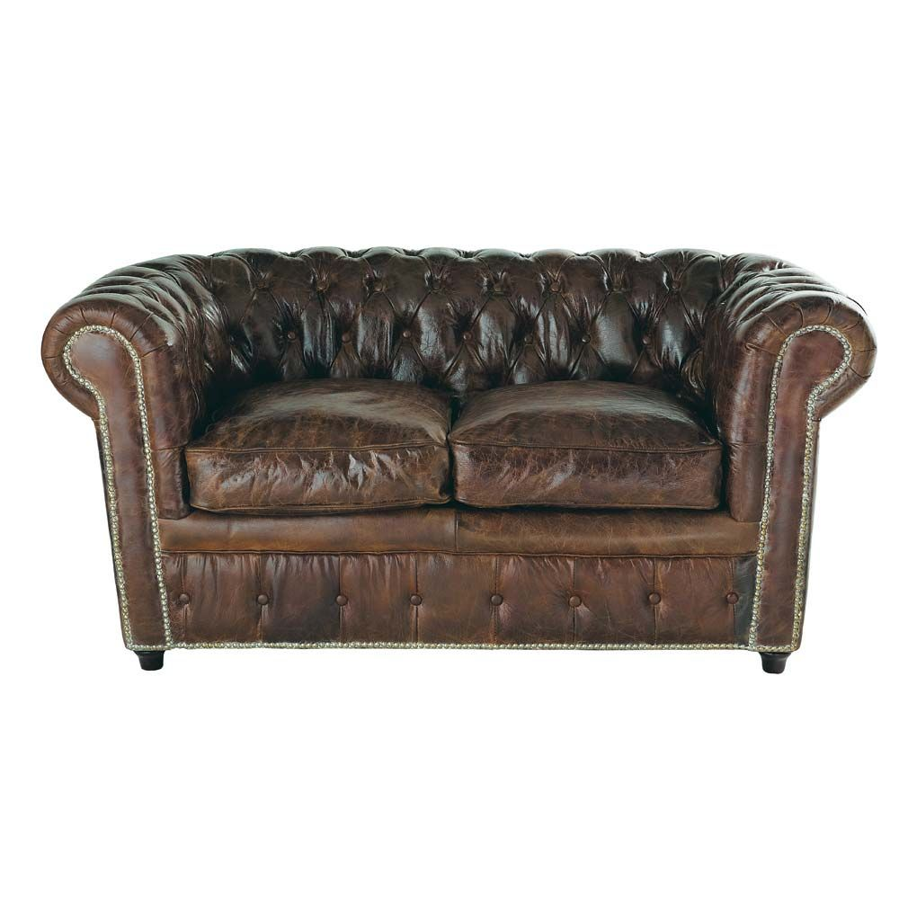 2-Seater Leather Button Sofa in Brown | Chesterfield, Vintage ...