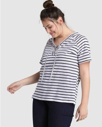 De Camiseta Estampado Rayas Mujer Con Y Talla Grande Couchel kX8nwO0P