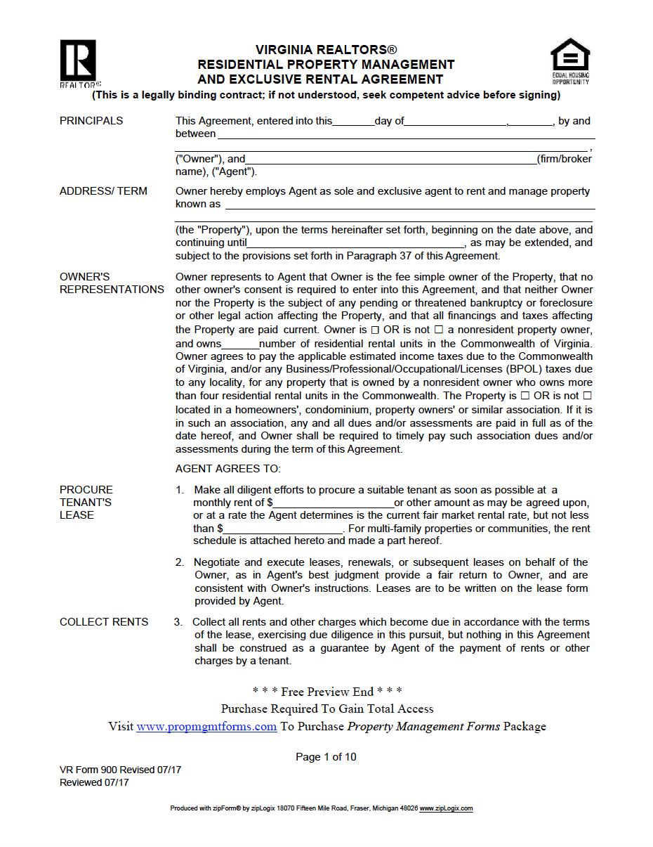 Virginia Property Management Agreement Property Management Management Property