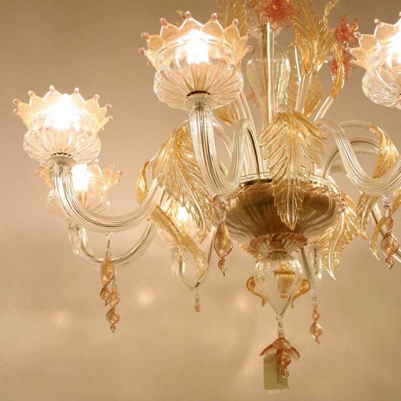 Lampadario Murrina 8 luci rosa/oro puccini s8 L\'inconfondibile stile ...