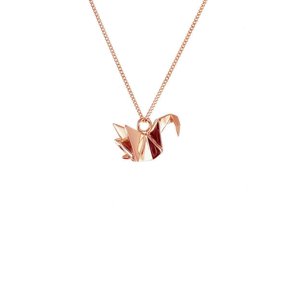 Photo of Sterling Silver & Pink Gold Mini Swan Origami Necklace