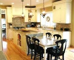 Image Result For Kitchen Island With Table Height Seating Two Level Country Kitchen Cabinets French Country Kitchen Cabinets Kitchen Island And Table Combo