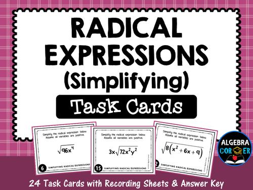 Simplifying-Radical-Expressions-Task-Cards pdf | Math | Algebraic