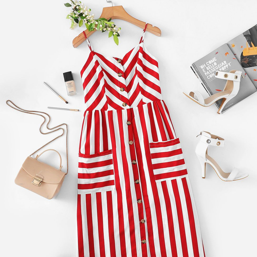 Button Up Pocket Front Striped Cami Dress Fashion Casual Work Dresses Clothes
