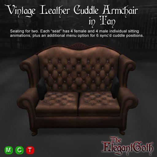 Vintage Leather Cuddle Armchair in Tan - Low Prim Mesh Sofa