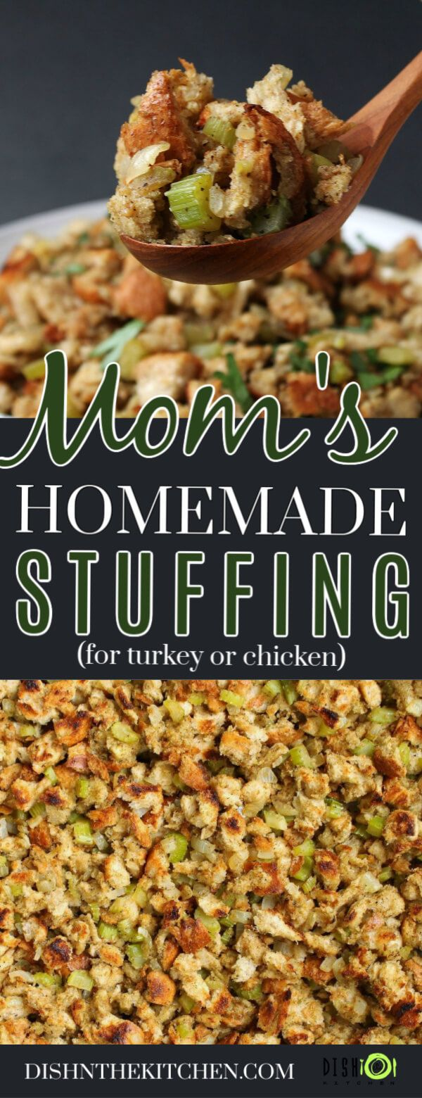 This classic stuffing is the one you are looking for! Passed down through generations using simple ingredients with the perfect poultry seasoning flavour. Stuff your turkey, chicken or just make a large pan full and bake separately. #stuffing #dressing #Thanksgiving #sides #breadstuffing #turkeystuffing #holidaysides #thanksgivingrecipessidedishes