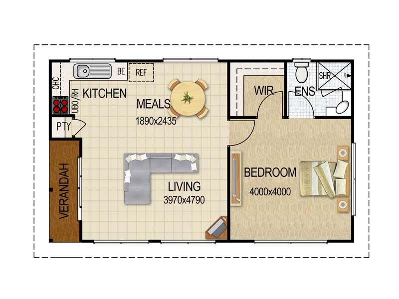 1 Bedroom Granny Flat Small House Plans Granny Flat Plans Flat Plan