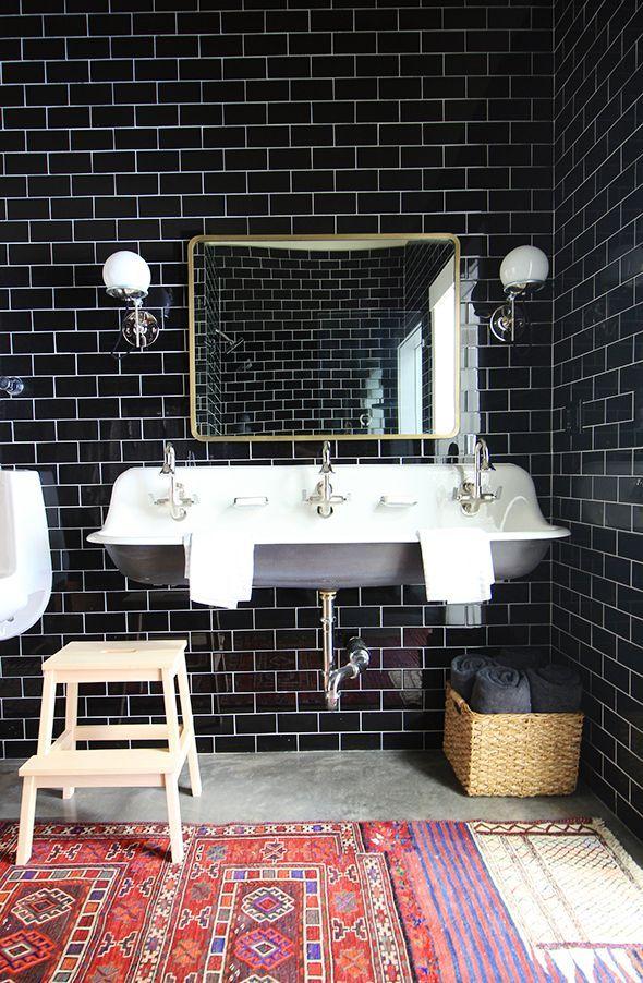 Warming Up A Black Tiled Bathroom (Little Green Notebook) | Black ...