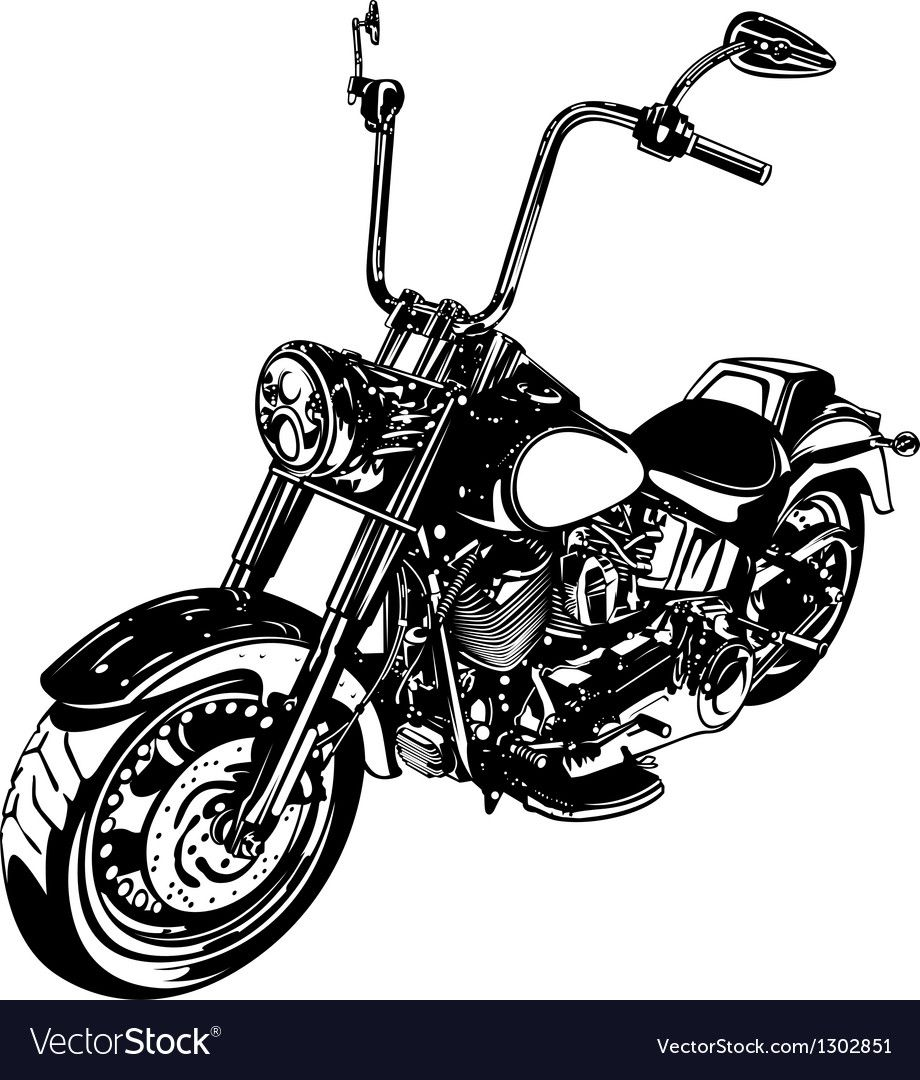 Chopper Customized Motorcycle Vector Image On In 2020 Vintage