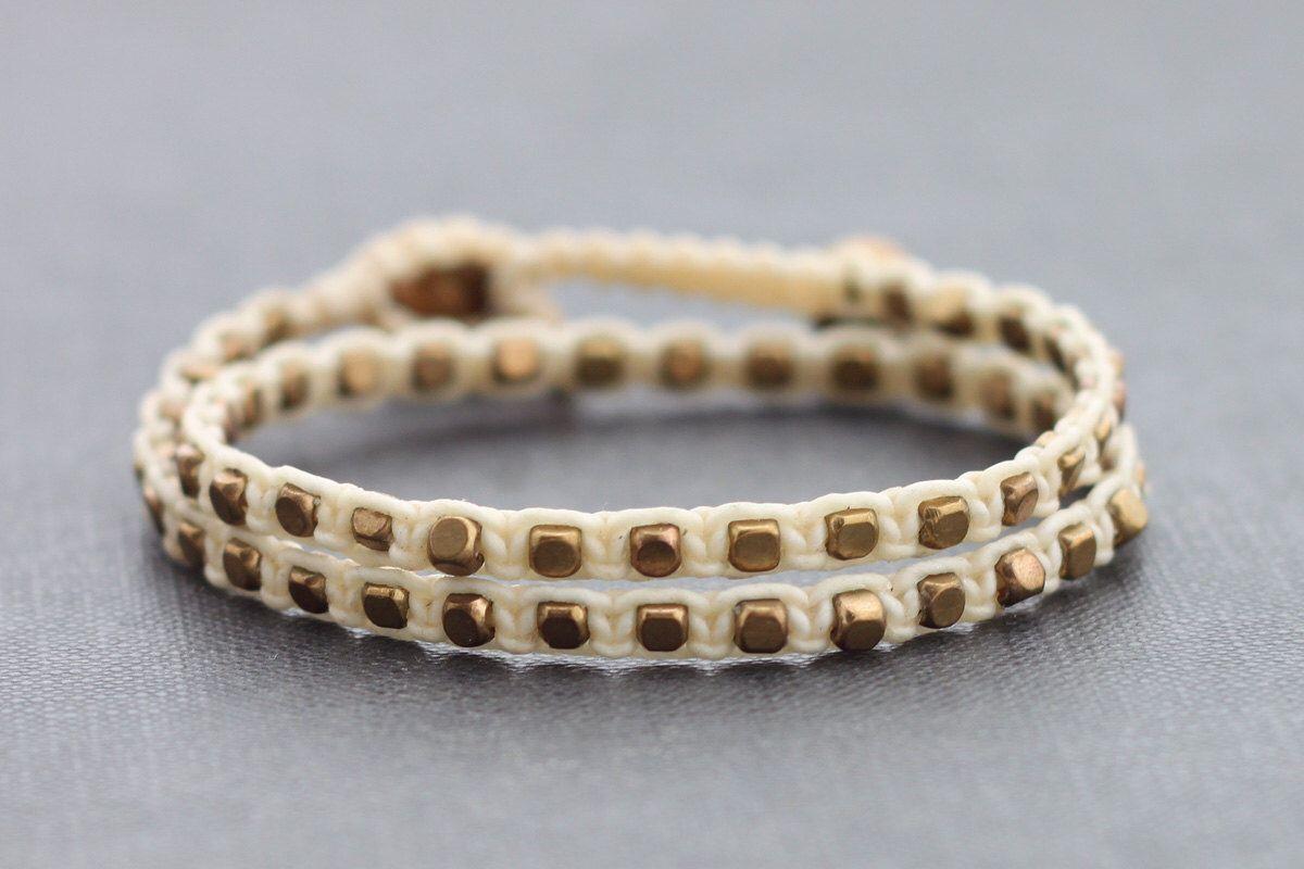 Ivory brass double wrap bracelet by xtravirgin on etsy