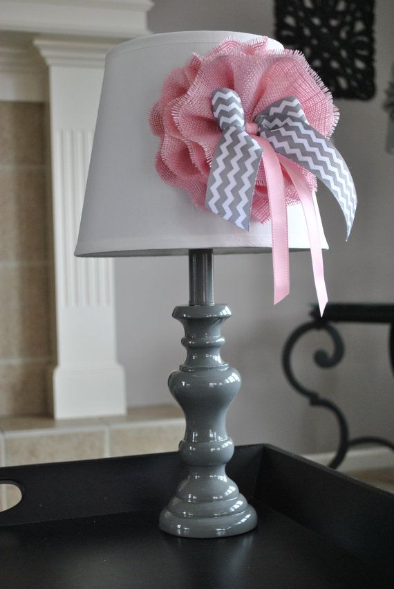 Pink grey and white nursery lamp Toddler room by MemoBoardsNMore ...