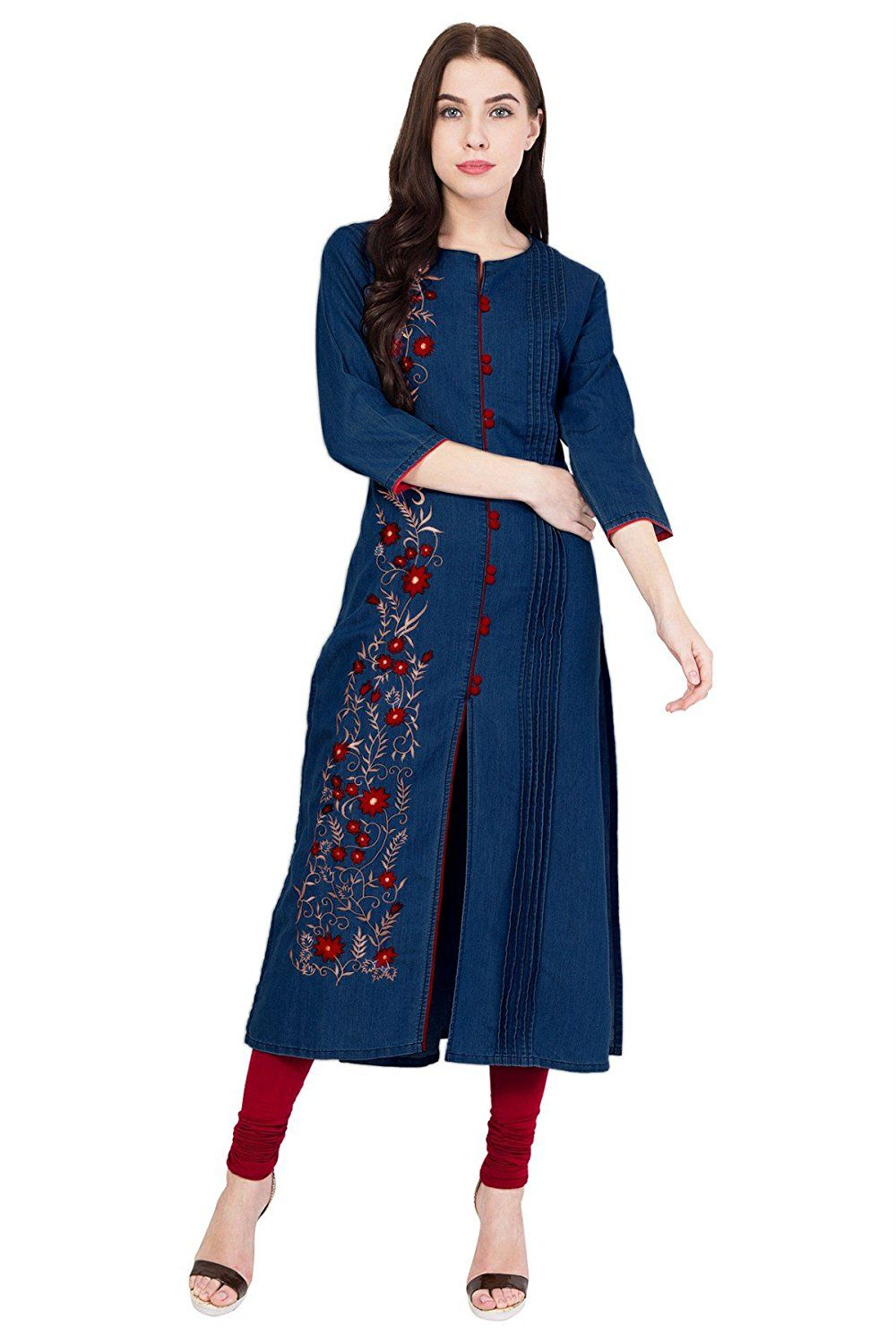 99ad209b72e PINKY PARI DENIM FRONT SLIT EMBROIDERED KURTI  Amazon.in  Clothing    Accessories