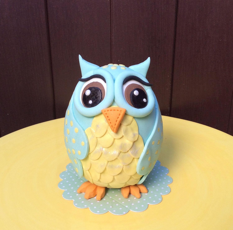 Owl Fondant Cake Topper Baby Shower Owl Cake Topper Birthday Owl