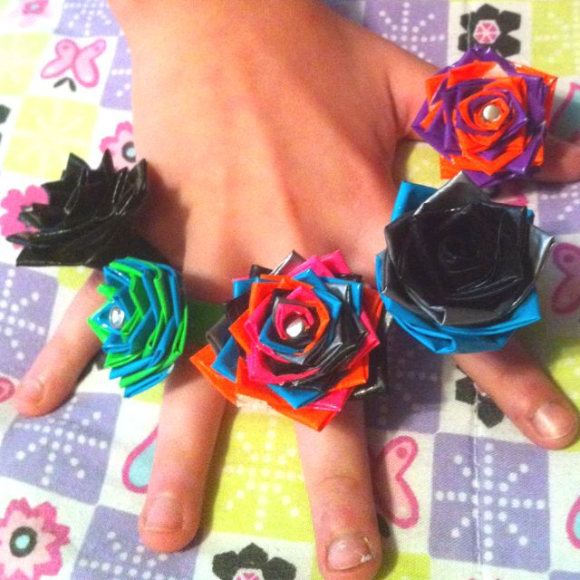 Duct tape flower rings