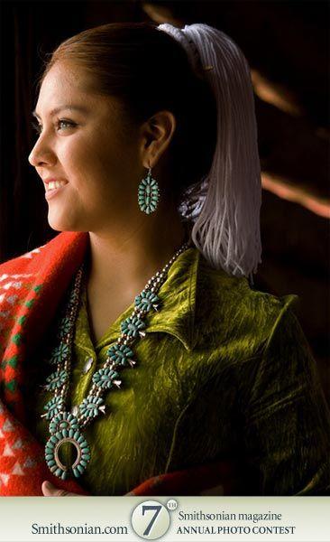 Navajo With Beautiful Green Dress