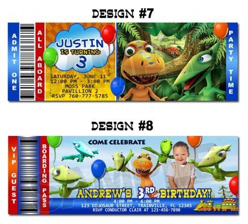 Dinosaur Train Eggspress Ticket Invitations Photo Custom Birthday In