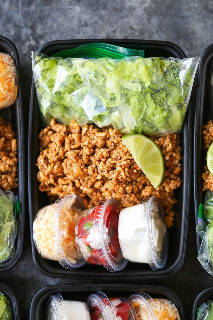 Puten-Taco-Salat-Mahlzeit-Vorbereitung - New Ideas #mealprepplans
