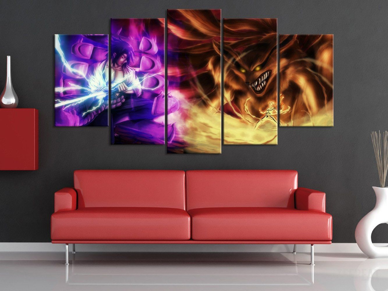 Susano vs 9 tail beast 5 piece canvas anime art painting 9 tails