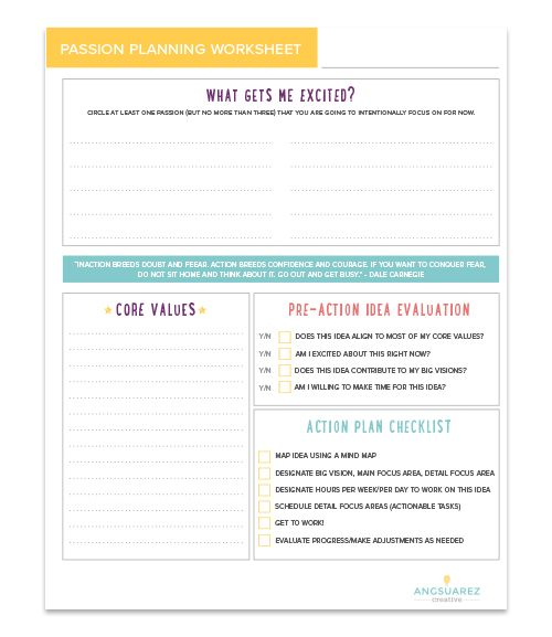 Steps To Managing Multiple Passions  Free Printable Passion