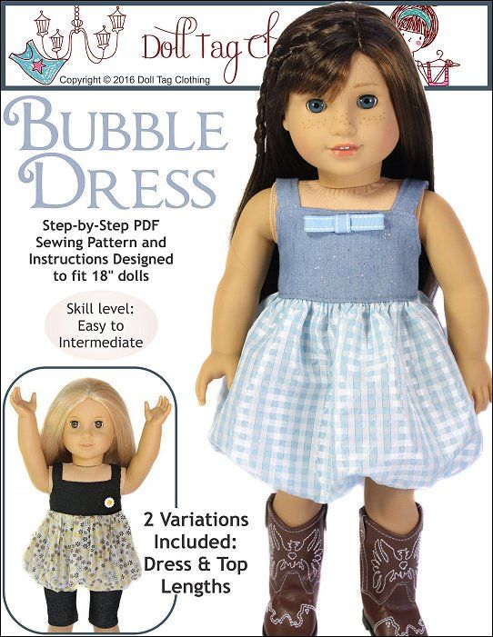 Bubble dress PDF sewing pattern for 18 inch dolls. Exclusive to Doll Tag Clothing.