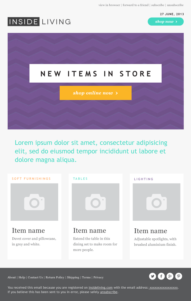 Insideliving Is A Modern Clean Email Marketing Template Designed