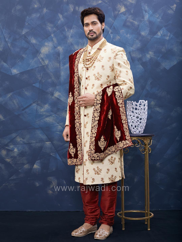 Resham and zari work sherwani rajwadi designer exclusive trendy