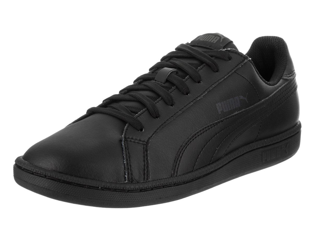 PUMA Men's Smash Leather Classic Sneaker,Black/Dark Shadow,9 M US.
