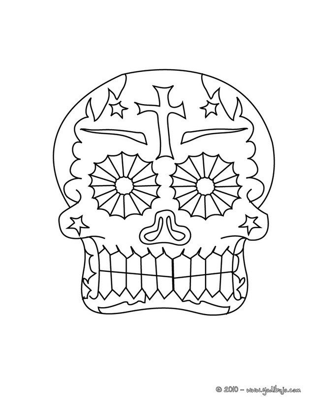 Dibujo para colorear una calavera decorada mexicana para el dia de ...