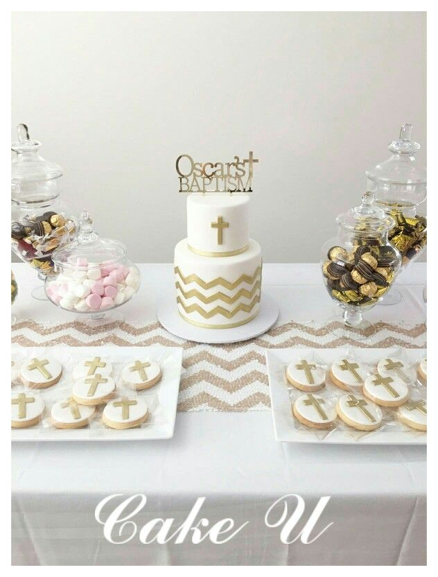 White And Gold Baptism Cake And Cookies Party Ideas
