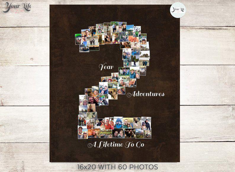 2 Year Anniversary 2nd Anniversary Gift Photo Collage Etsy Boyfriend Anniversary Gifts Anniversary Gifts Boyfriend Gifts