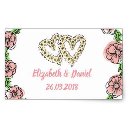 Pink flowers wedding sticker wedding stickers unique design cool sticker gift idea marriage party
