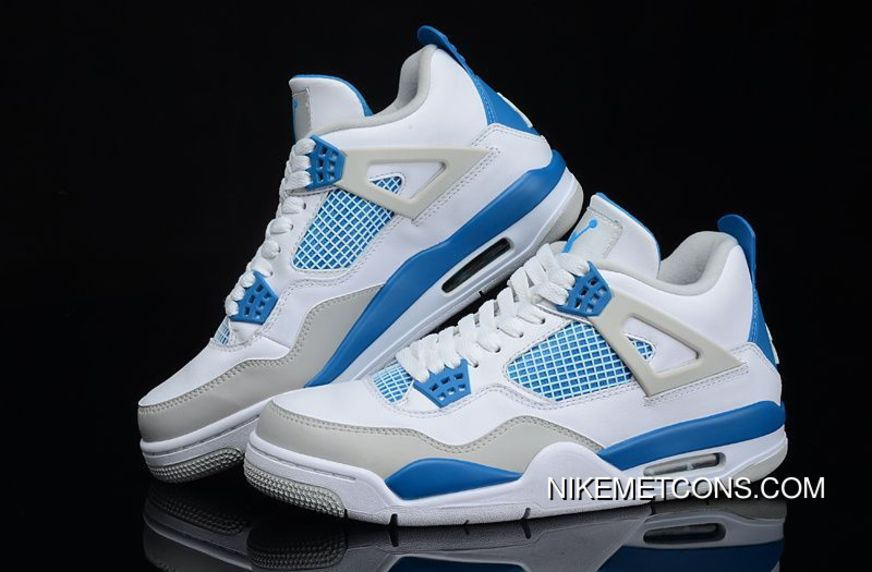 Big Size Air Jordan 4 Retro White/Military Blue-Neutral Grey ...