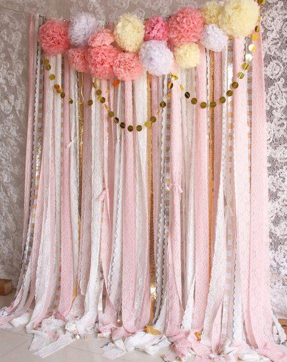 Rosa weiße Spitze Pom Poms Blumen Glanz Stoff Hintergrund Hochzeit Zeremonie Bühne, Geburtstag, Baby-Dusche-Neugeborenen-Partei-Hintergrund-Garland #garlandofflowers