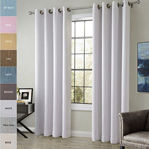 Chadmade Extra Wide Cotton Rayon Chenille Blackout Insulated Thermal Curtain Panel Drapes White Gray 120wx84l Inch Thermal Curtains Panel Curtains White Drapes