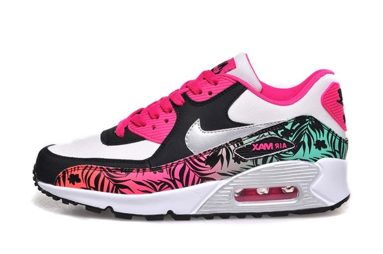 Nike Air Max 90 Print GS Womans Trainers 704953 001 Hot Pink