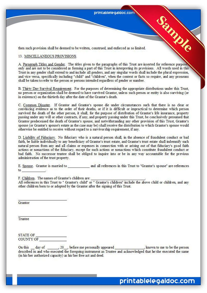 Free Living Trust forms Free Printable Living Trust form