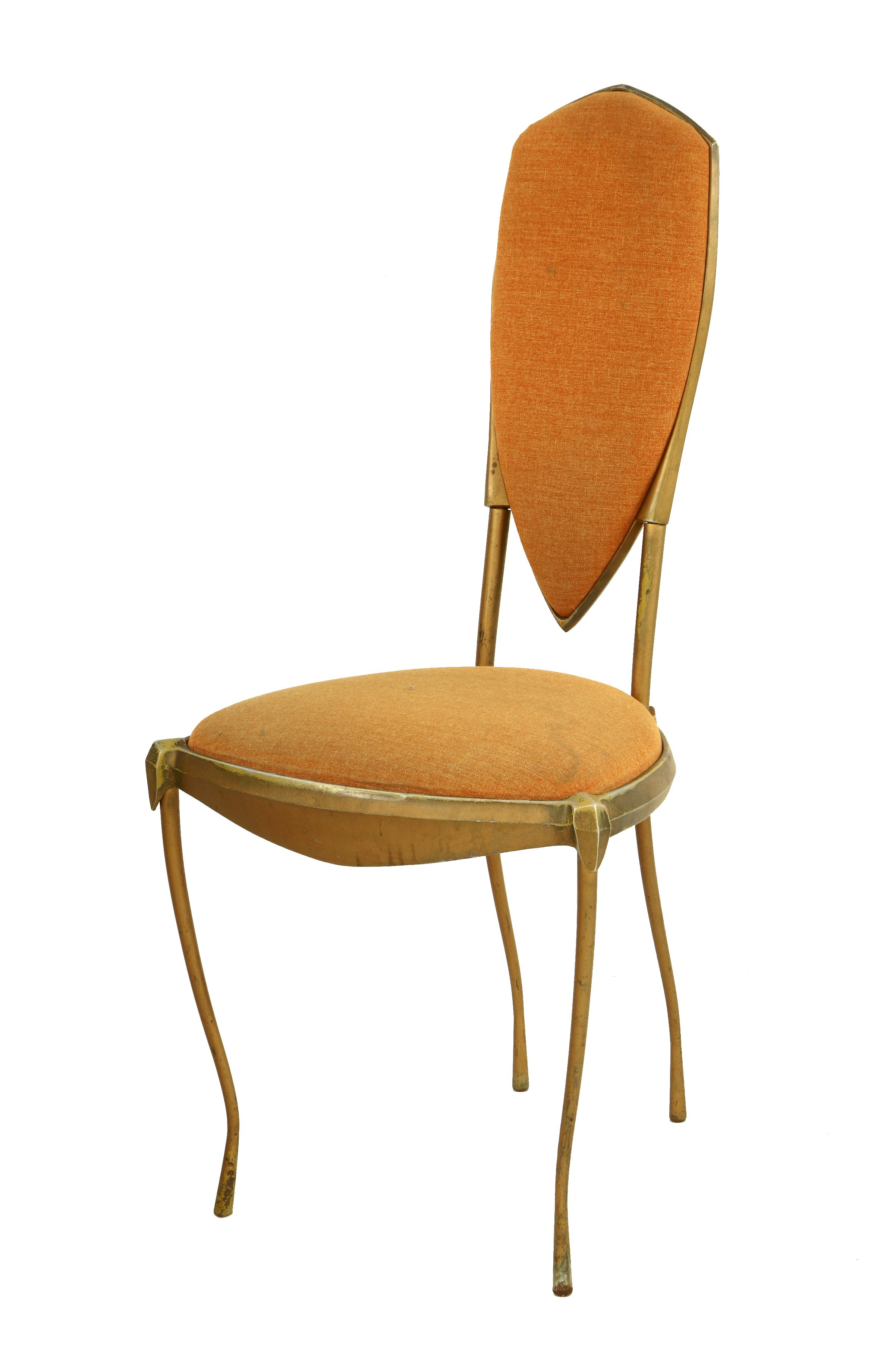 A side chair, by Mark Brazier-Jones, the gilded frame with peach upholstered back and seat Sold for £400 30th July 2014