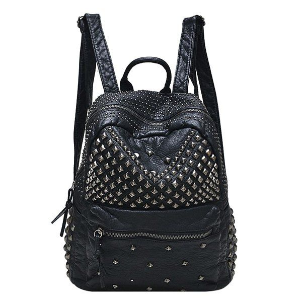 $19.68 Fashion Women's Satchel With Solid Colour and Metal Rivets Design