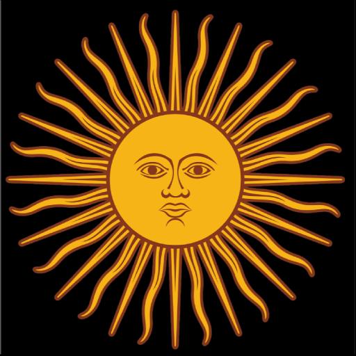 Peace Sun Sticker With Black Background Argentinian Flag Sun Logo Sun