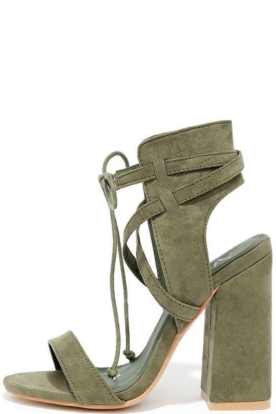 #AdoreWe #Lulus Designer Footware - Designer So Me Share a Smile Olive Suede Lace-Up Heels - AdoreWe.com