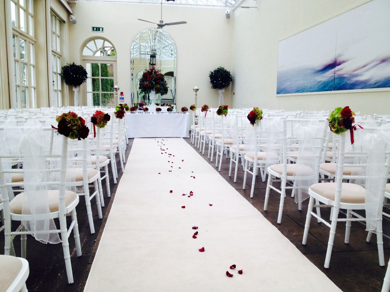 Buxted Park Hotel Orangery Sus Wedding Venue Pretty Aisle Posies From Pollen Flowers