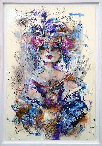 """Madame"", Oil on paper (framed) by Dutch Artist Guy Olivier."