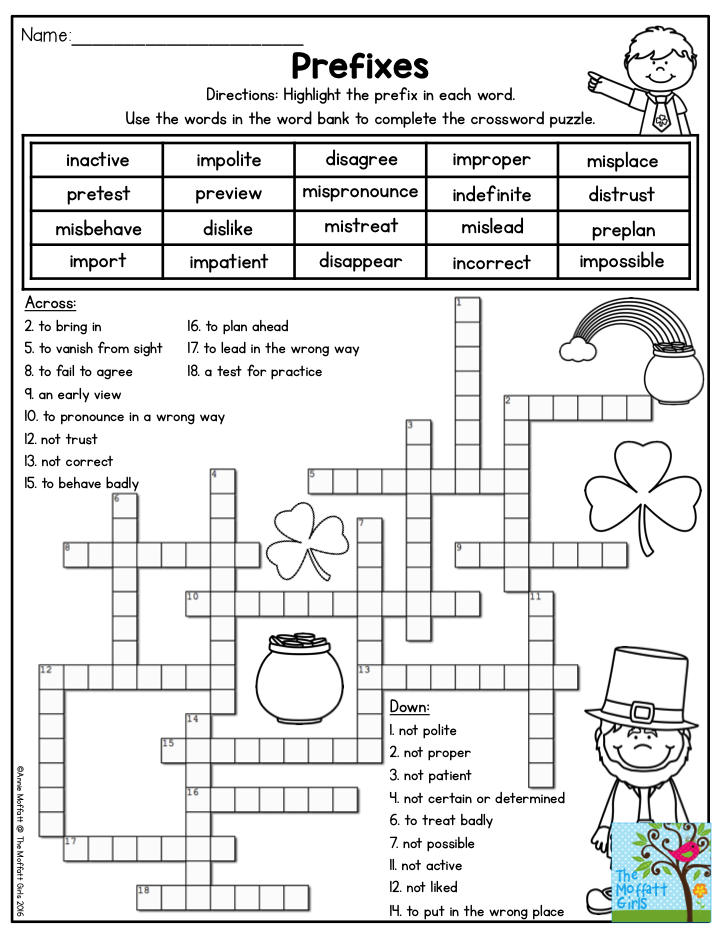 3rd Grade prefixes worksheets for 3rd grade : Prefixes Crossword Puzzle- Highlight the prefix in each word. Use ...