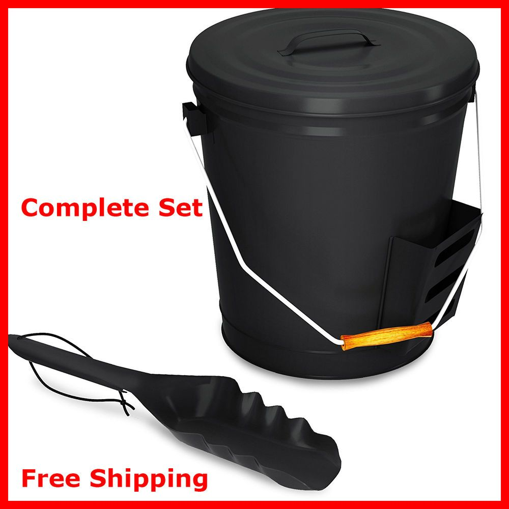 Ash Bucket With Lid Shovel Fire Place Accessories Metal Black Hearth Pail Handle Ashbucketwithlid Contemporary Bucket With Lid Hearth Pail