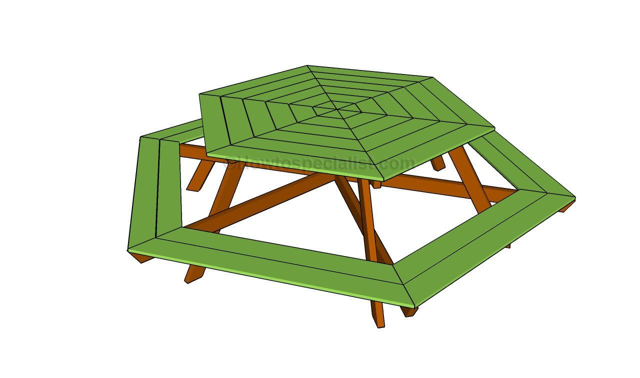 How To Build A Hexagon Table Picnic Table Plans Garden