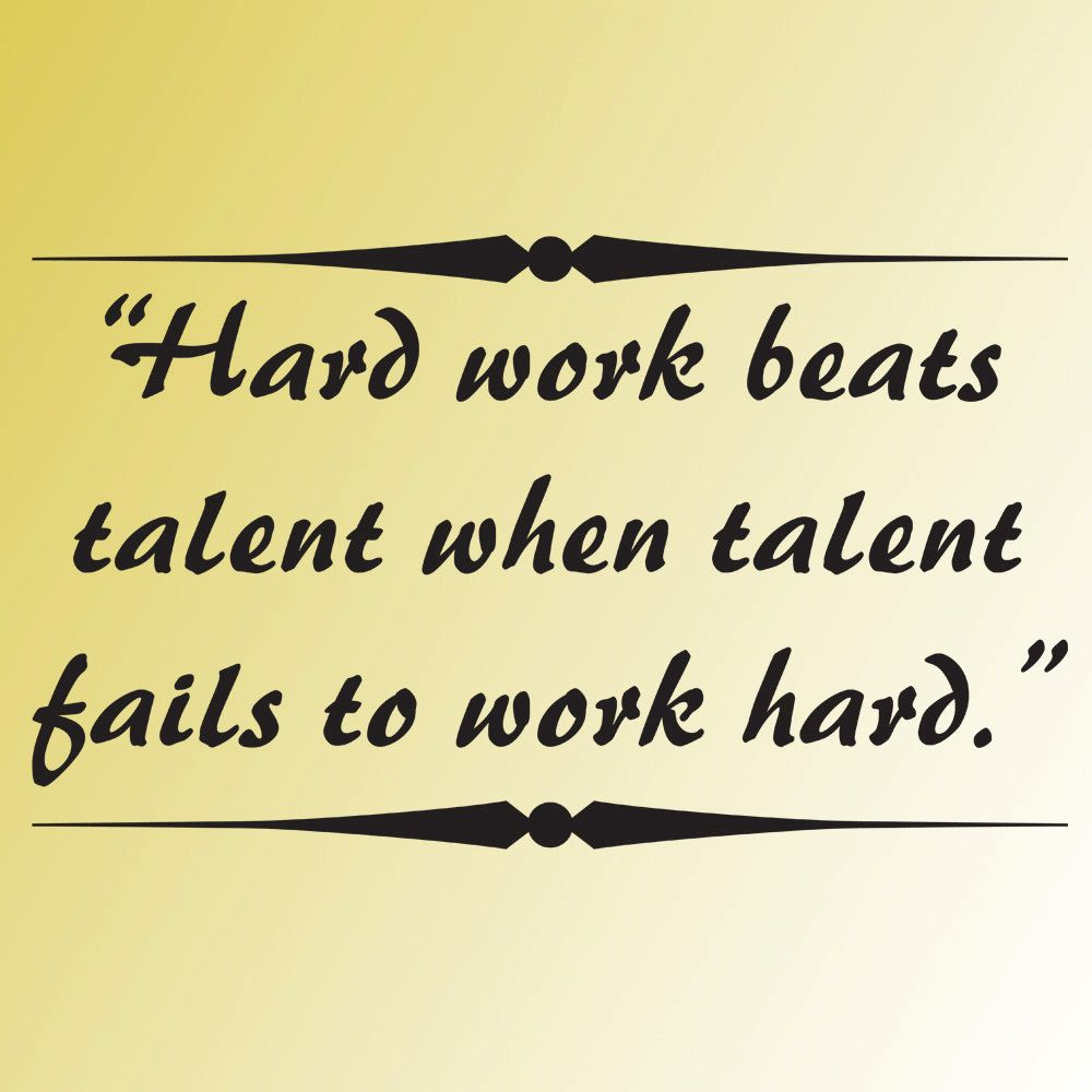 vinyl wall art decal HARD WORK beats TALENT word phrase quote saying ...