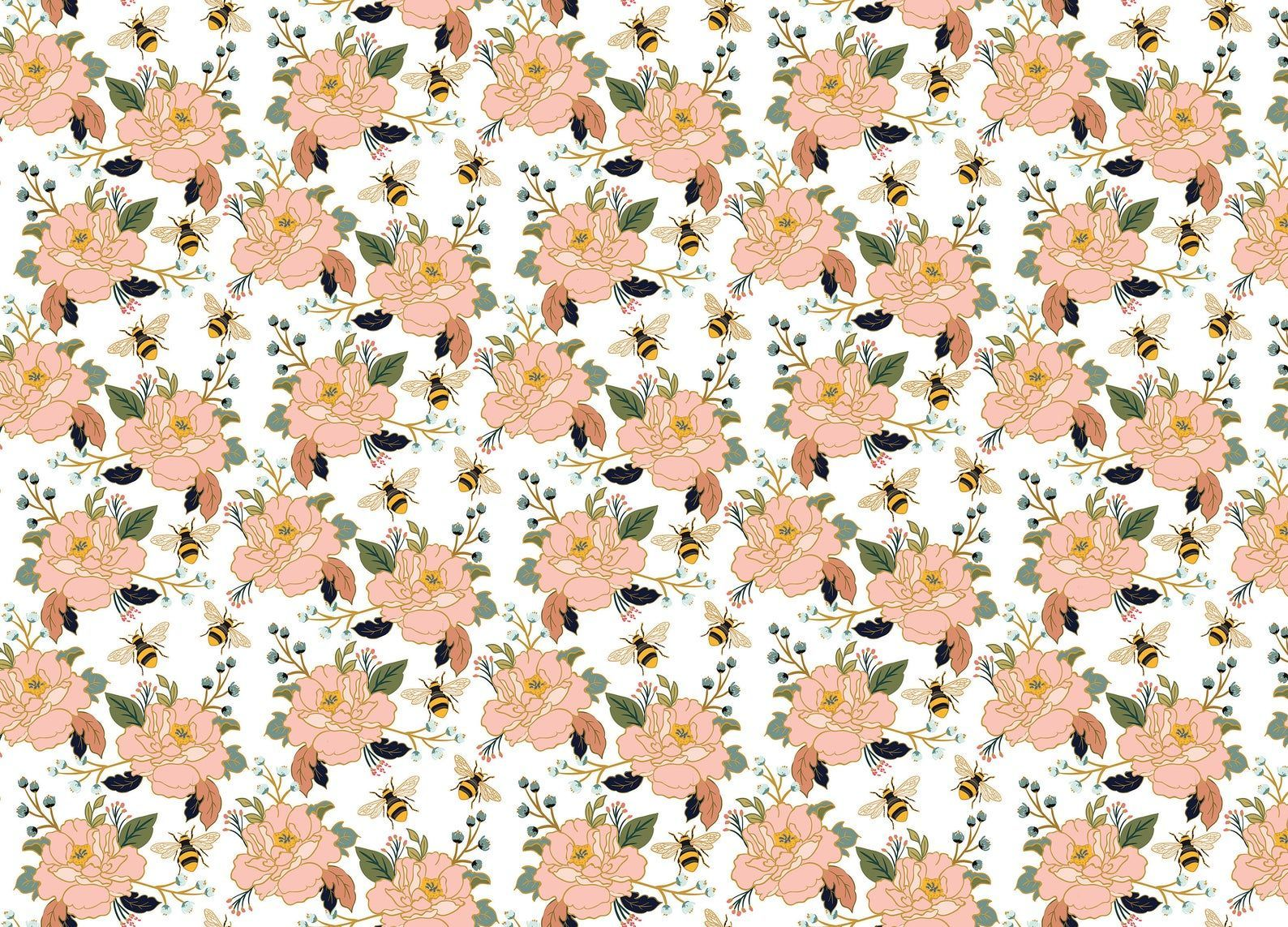 Wild Honey Wallpaper Bees and Flowers Pattern in 2020